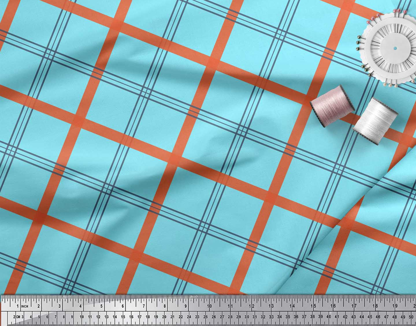 Soimoi-Blue-Cotton-Poplin-Fabric-Check-Check-Decor-Fabric-Printed-kz2 thumbnail 3