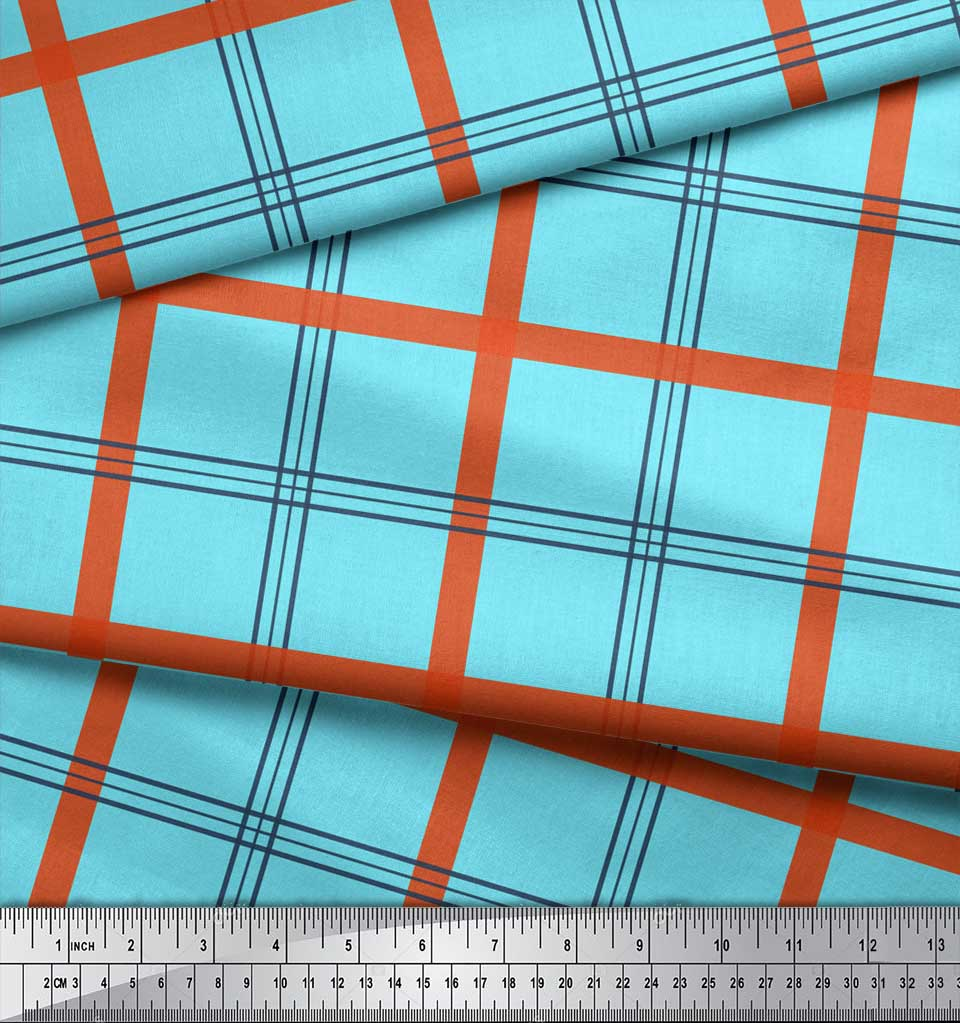 Soimoi-Blue-Cotton-Poplin-Fabric-Check-Check-Decor-Fabric-Printed-kz2 thumbnail 4