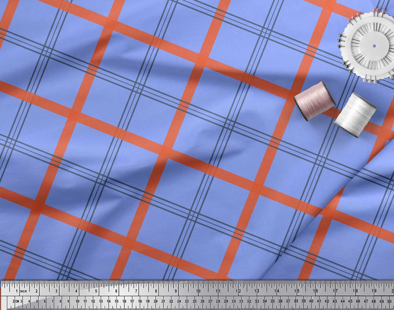 Soimoi-Blue-Cotton-Poplin-Fabric-Check-Check-Print-Fabric-by-the-861 thumbnail 3