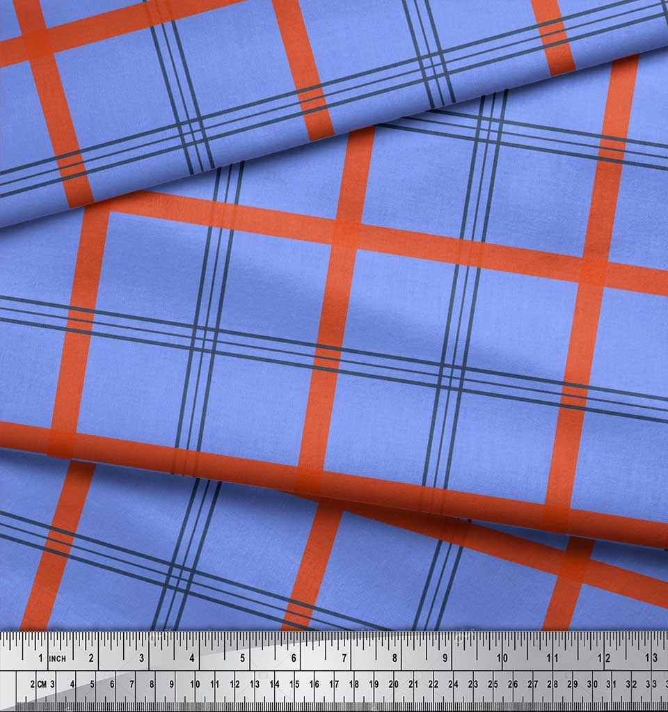 Soimoi-Blue-Cotton-Poplin-Fabric-Check-Check-Print-Fabric-by-the-861 thumbnail 4