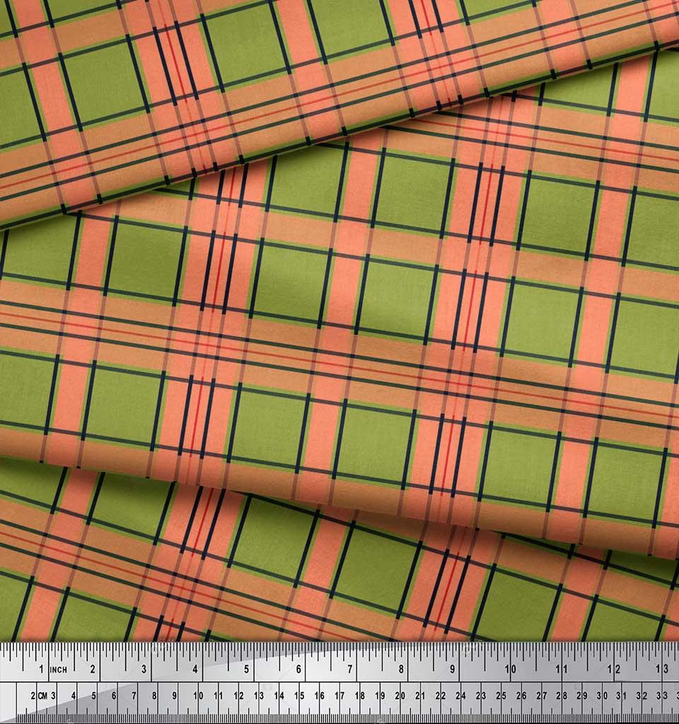 Soimoi-Green-Cotton-Poplin-Fabric-Check-Check-Decor-Fabric-Printed-9Je thumbnail 3