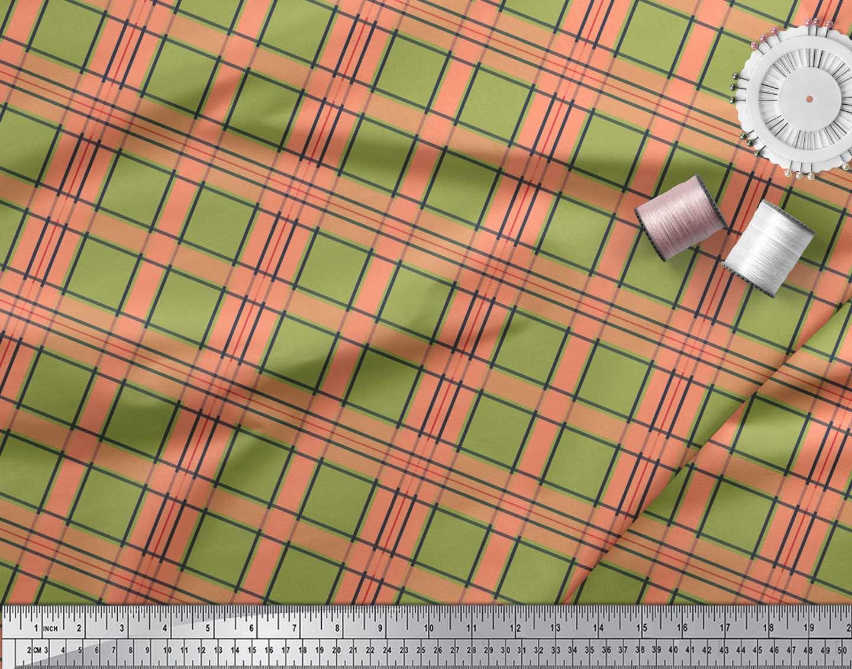 Soimoi-Green-Cotton-Poplin-Fabric-Check-Check-Decor-Fabric-Printed-9Je thumbnail 4