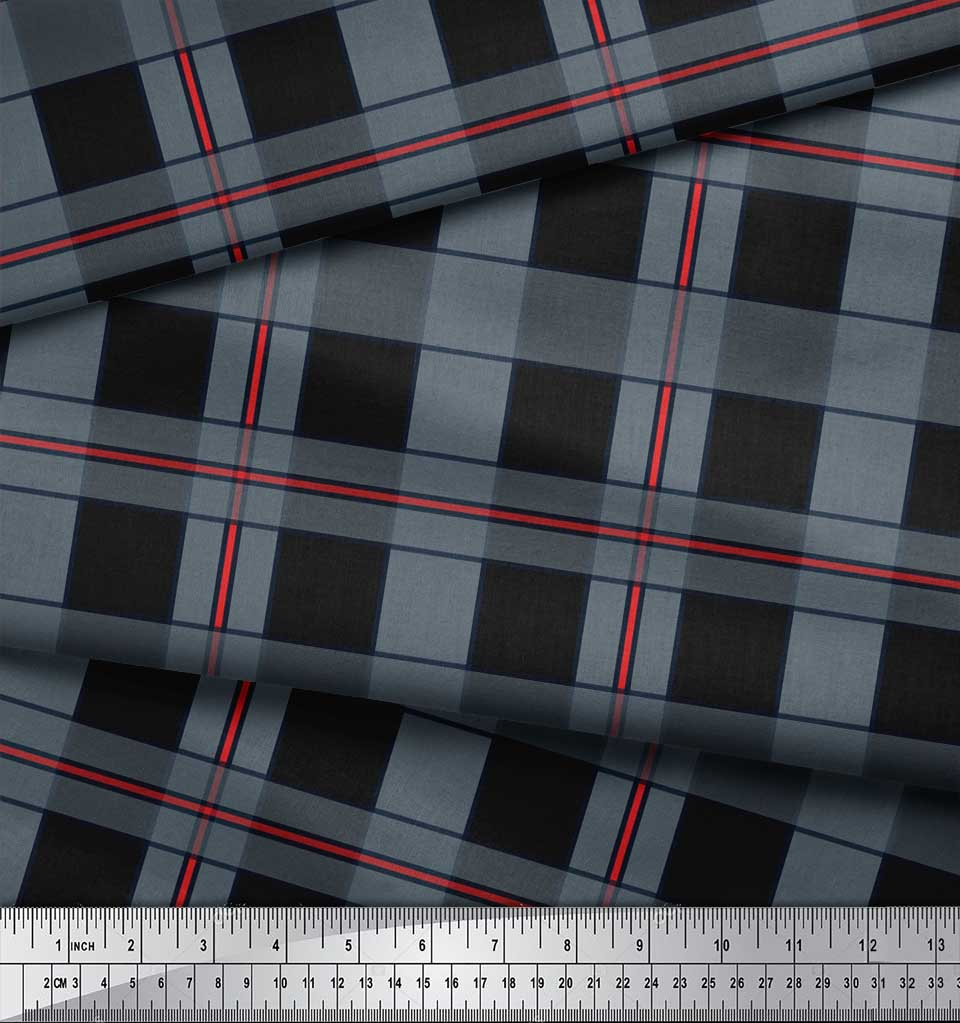 Soimoi-Black-Cotton-Poplin-Fabric-Check-Check-Print-Fabric-by-the-Qn0 thumbnail 3