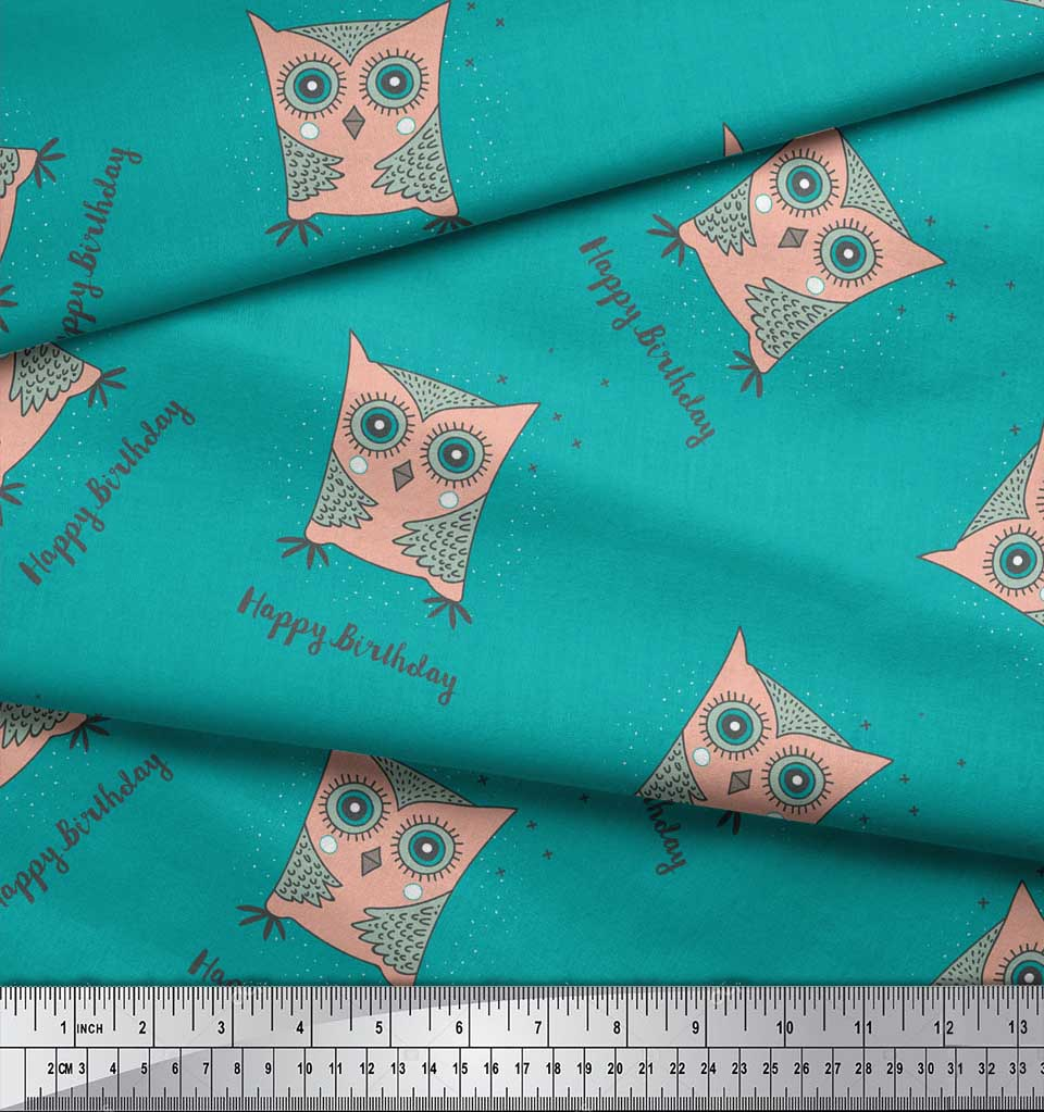 Soimoi-Green-Cotton-Poplin-Fabric-Text-amp-Owl-Cartoon-Fabric-Prints-Dim thumbnail 3