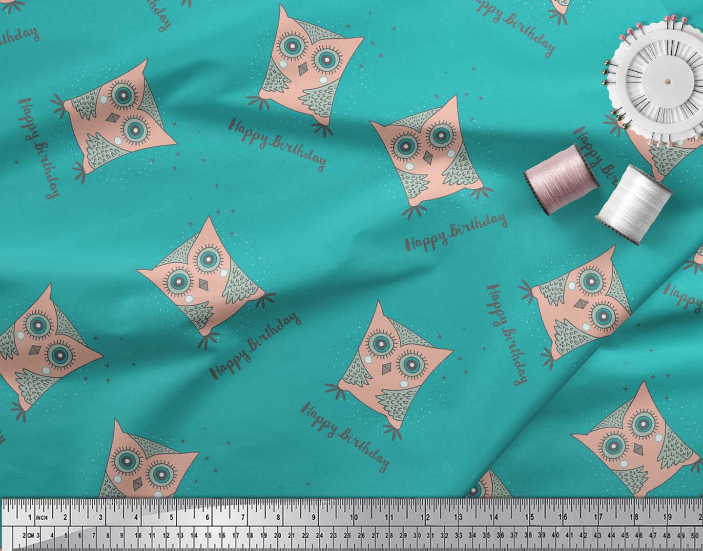 Soimoi-Green-Cotton-Poplin-Fabric-Text-amp-Owl-Cartoon-Fabric-Prints-Dim thumbnail 4