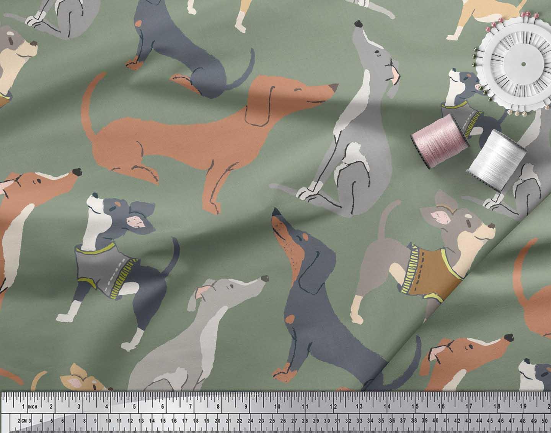 Soimoi-Green-Cotton-Poplin-Fabric-Cute-Dog-Decor-Fabric-Printed-Kxe thumbnail 4