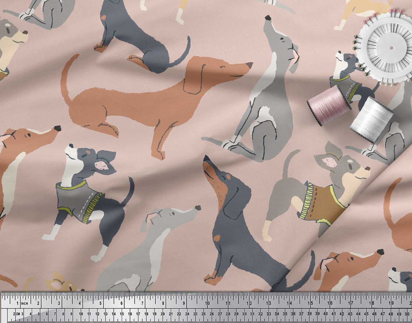 Soimoi-Pink-Cotton-Poplin-Fabric-Cute-Dog-Printed-Craft-Fabric-by-GoO thumbnail 3