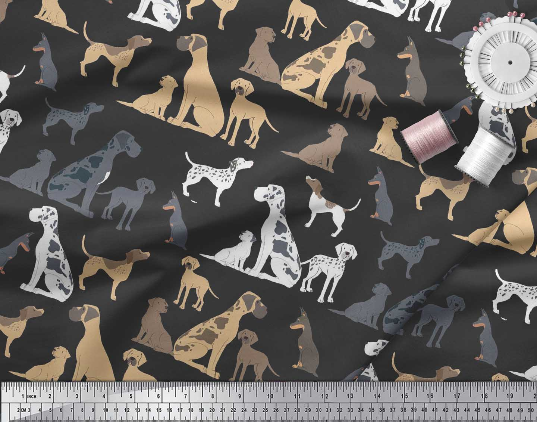 Soimoi-Black-Cotton-Poplin-Fabric-Mix-Dog-Decor-Fabric-Printed-BTY-gzu thumbnail 3