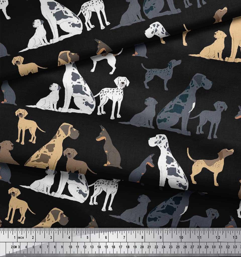 Soimoi-Black-Cotton-Poplin-Fabric-Mix-Dog-Decor-Fabric-Printed-BTY-gzu thumbnail 4