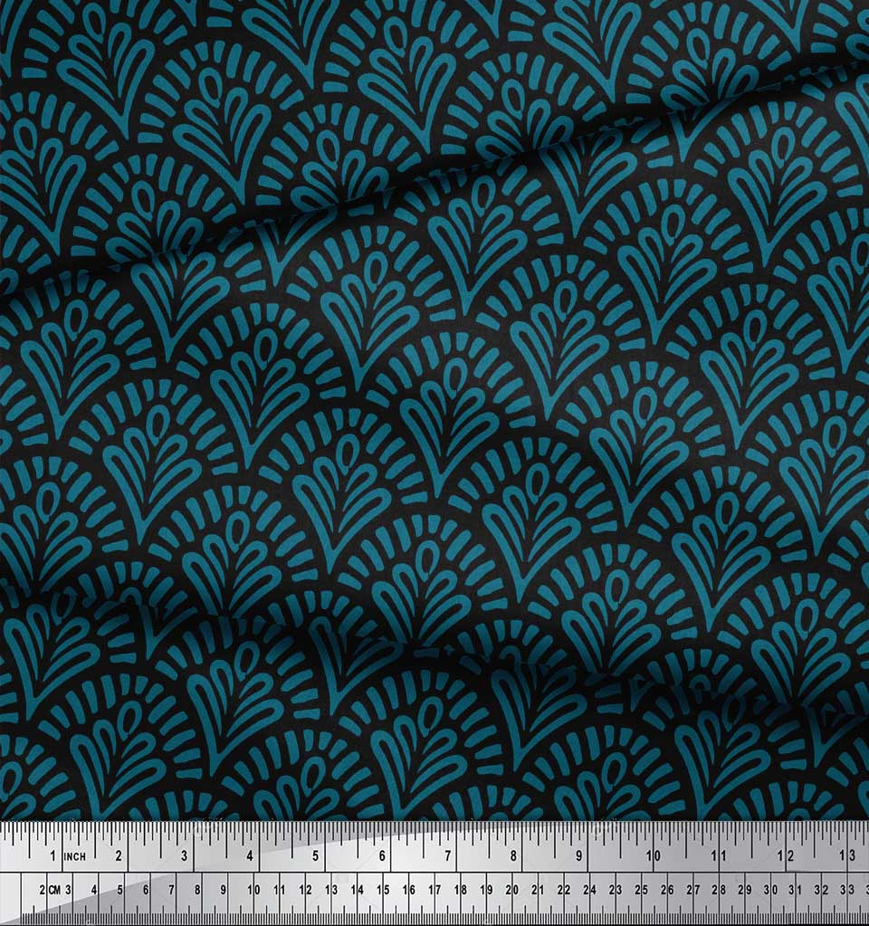 Soimoi-Black-Cotton-Poplin-Fabric-Floral-Damask-Print-Sewing-Fabric-VrD thumbnail 4