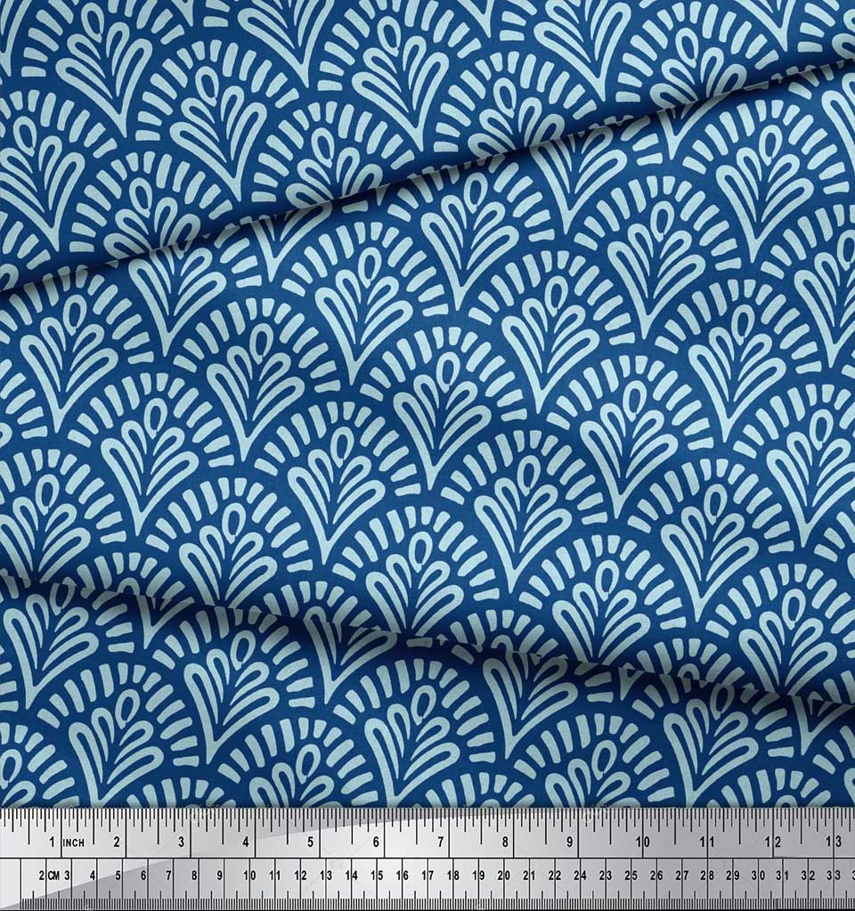 Soimoi-Blue-Cotton-Poplin-Fabric-Floral-Damask-Print-Sewing-Fabric-PmC thumbnail 3