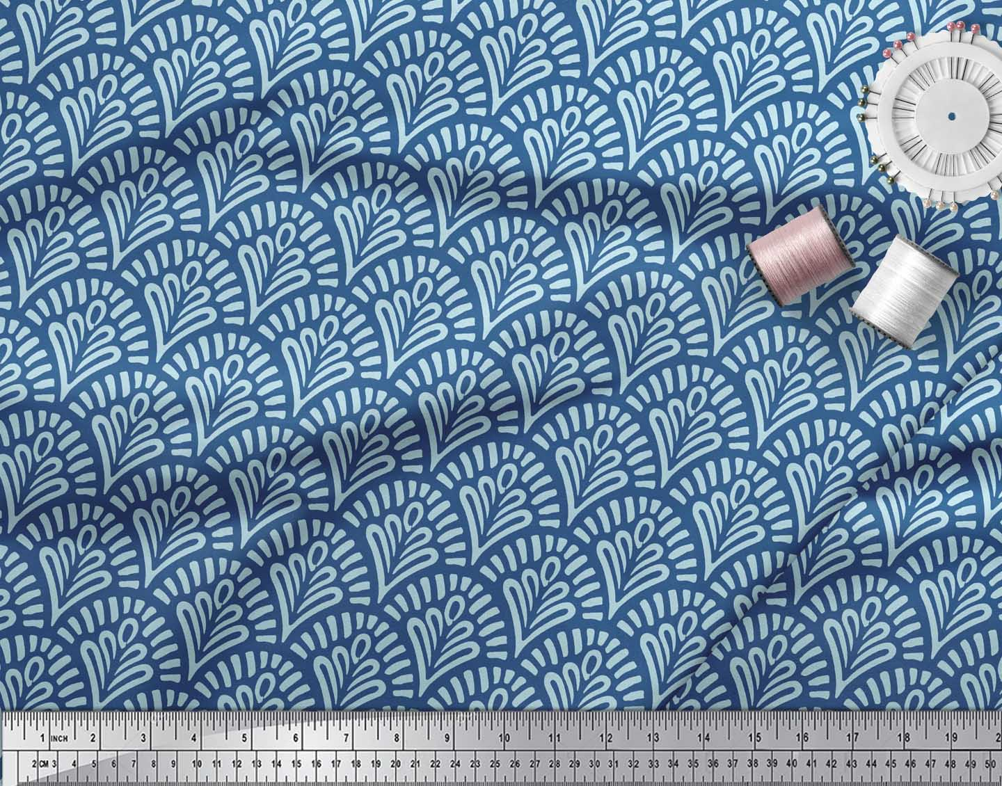 Soimoi-Blue-Cotton-Poplin-Fabric-Floral-Damask-Print-Sewing-Fabric-PmC thumbnail 4
