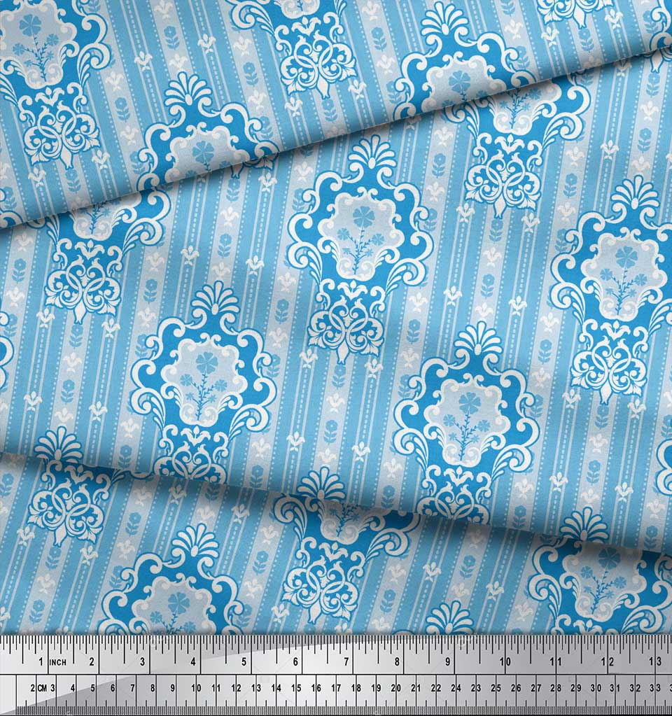 Soimoi-Blue-Cotton-Poplin-Fabric-Abstract-Damask-Print-Fabric-by-x5t thumbnail 3