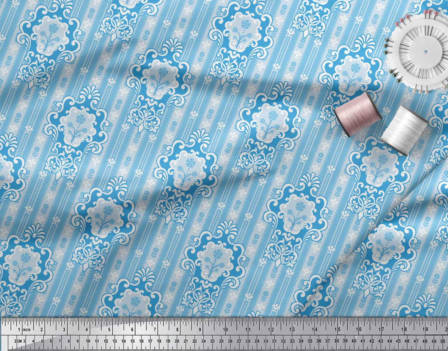 Soimoi-Blue-Cotton-Poplin-Fabric-Abstract-Damask-Print-Fabric-by-x5t thumbnail 4