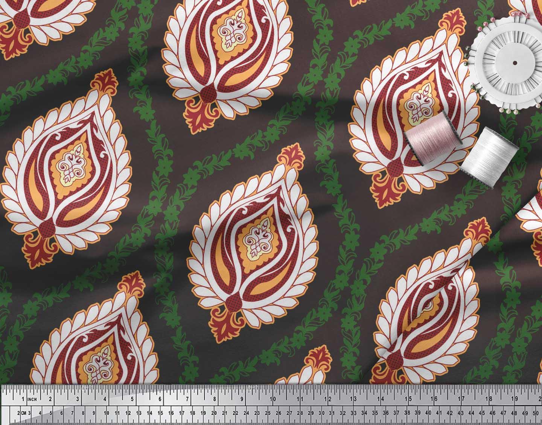 Soimoi-Brown-Cotton-Poplin-Fabric-Floral-Damask-Printed-Craft-Fabric-fYh thumbnail 3