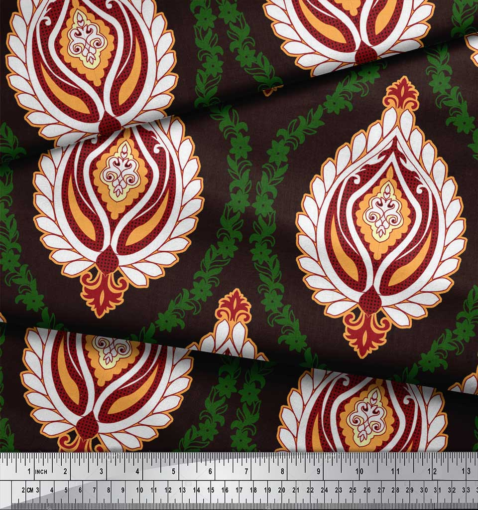 Soimoi-Brown-Cotton-Poplin-Fabric-Floral-Damask-Printed-Craft-Fabric-fYh thumbnail 4