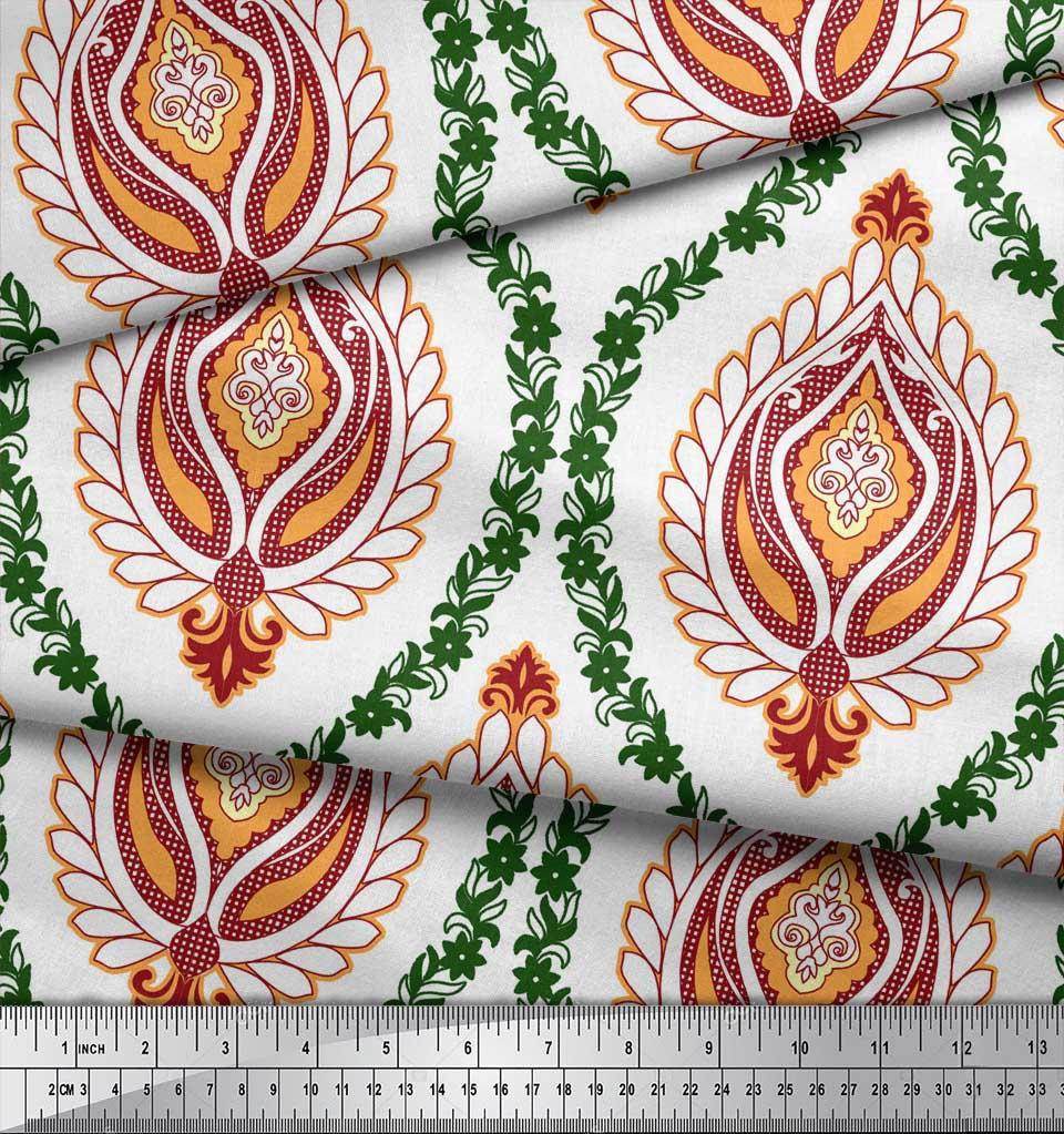Soimoi-White-Cotton-Poplin-Fabric-Floral-Damask-Decor-Fabric-Printed-PgX thumbnail 3