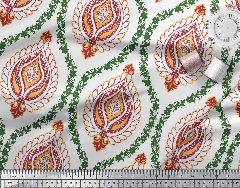 Soimoi-White-Cotton-Poplin-Fabric-Floral-Damask-Decor-Fabric-Printed-PgX thumbnail 4