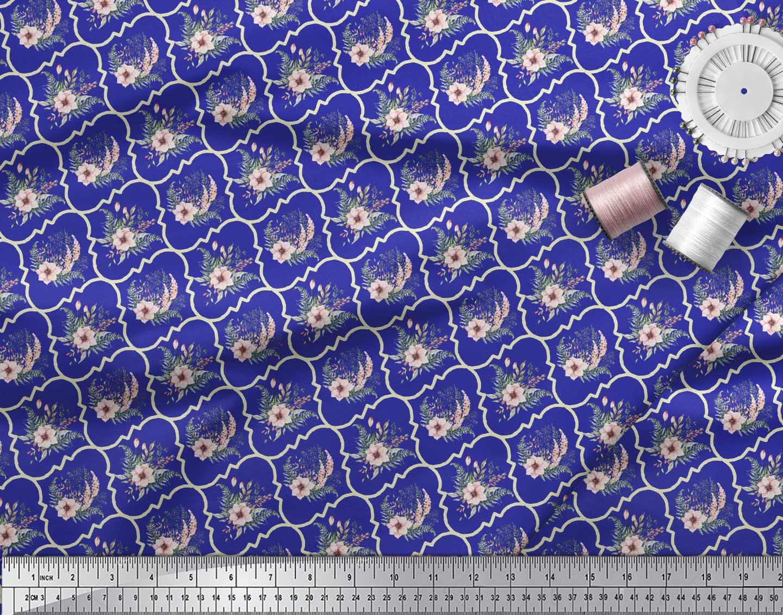 Soimoi-Blue-Cotton-Poplin-Fabric-Floral-Damask-Printed-Fabric-1-rZ8 thumbnail 3