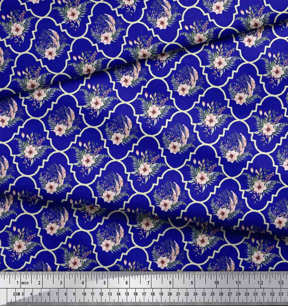 Soimoi-Blue-Cotton-Poplin-Fabric-Floral-Damask-Printed-Fabric-1-rZ8 thumbnail 4