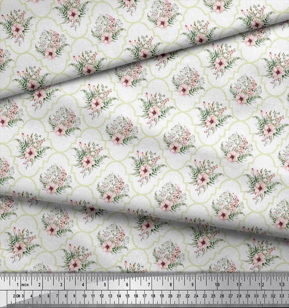Soimoi-White-Cotton-Poplin-Fabric-Floral-Damask-Print-Sewing-Fabric-zOL thumbnail 3