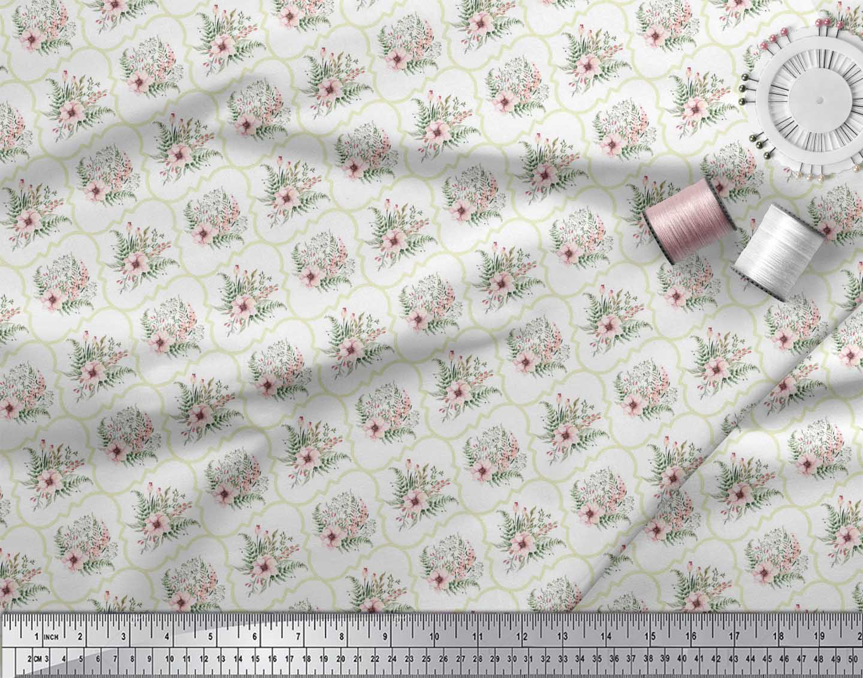 Soimoi-White-Cotton-Poplin-Fabric-Floral-Damask-Print-Sewing-Fabric-zOL thumbnail 4