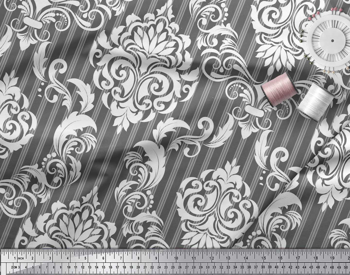 Soimoi-Gray-Cotton-Poplin-Fabric-Stripe-amp-Vector-Design-Damask-Print-Rgc thumbnail 3