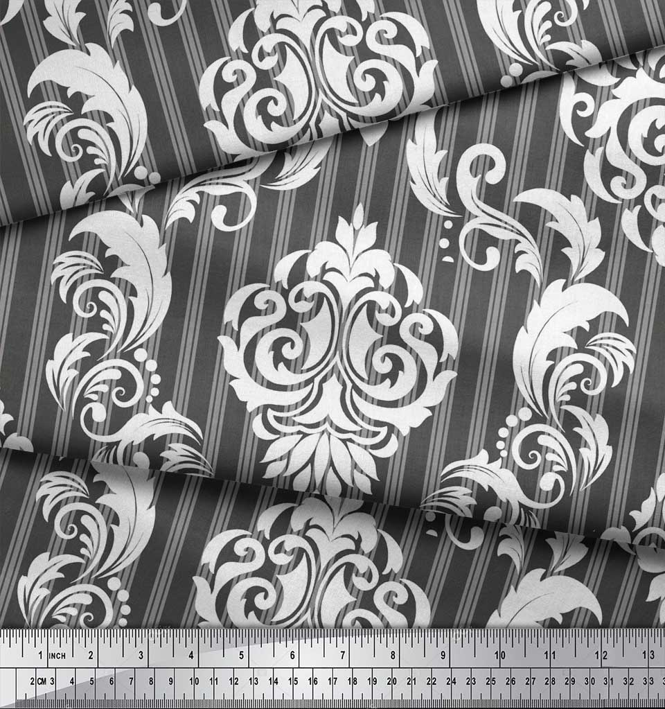 Soimoi-Gray-Cotton-Poplin-Fabric-Stripe-amp-Vector-Design-Damask-Print-Rgc thumbnail 4