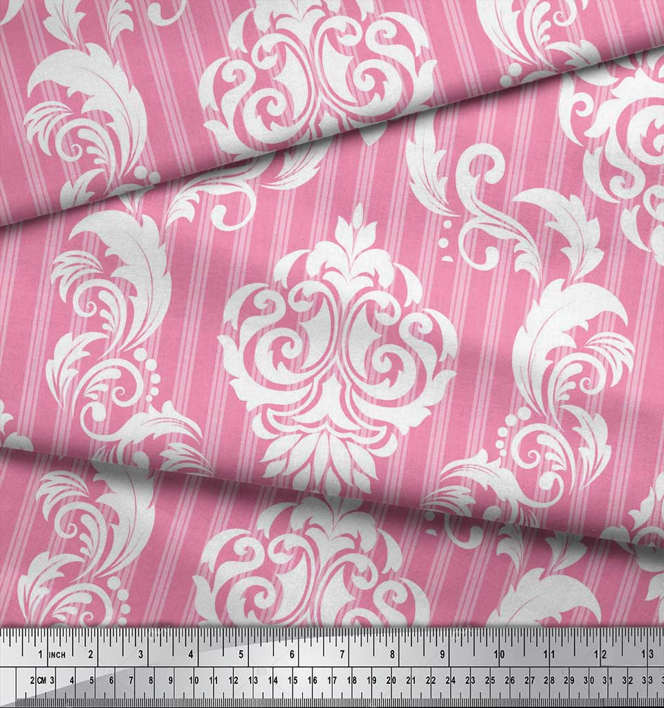 Soimoi-Pink-Cotton-Poplin-Fabric-Stripe-amp-Vector-Design-Damask-Decor-JHA thumbnail 4