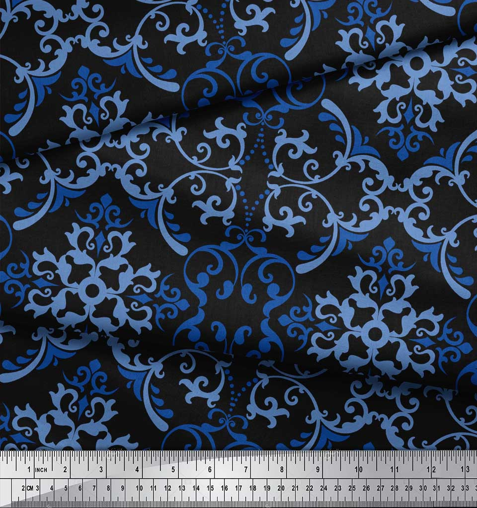 Soimoi-Black-Cotton-Poplin-Fabric-Vector-Design-Damask-Fabric-Prints-ZAz thumbnail 3