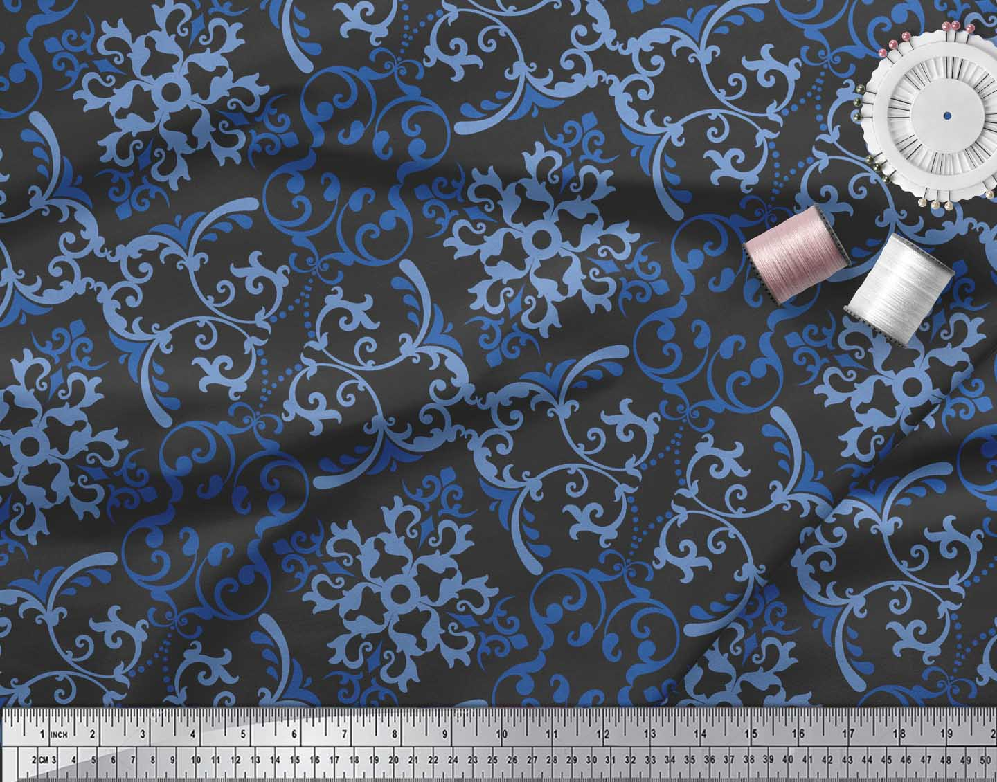 Soimoi-Black-Cotton-Poplin-Fabric-Vector-Design-Damask-Fabric-Prints-ZAz thumbnail 4