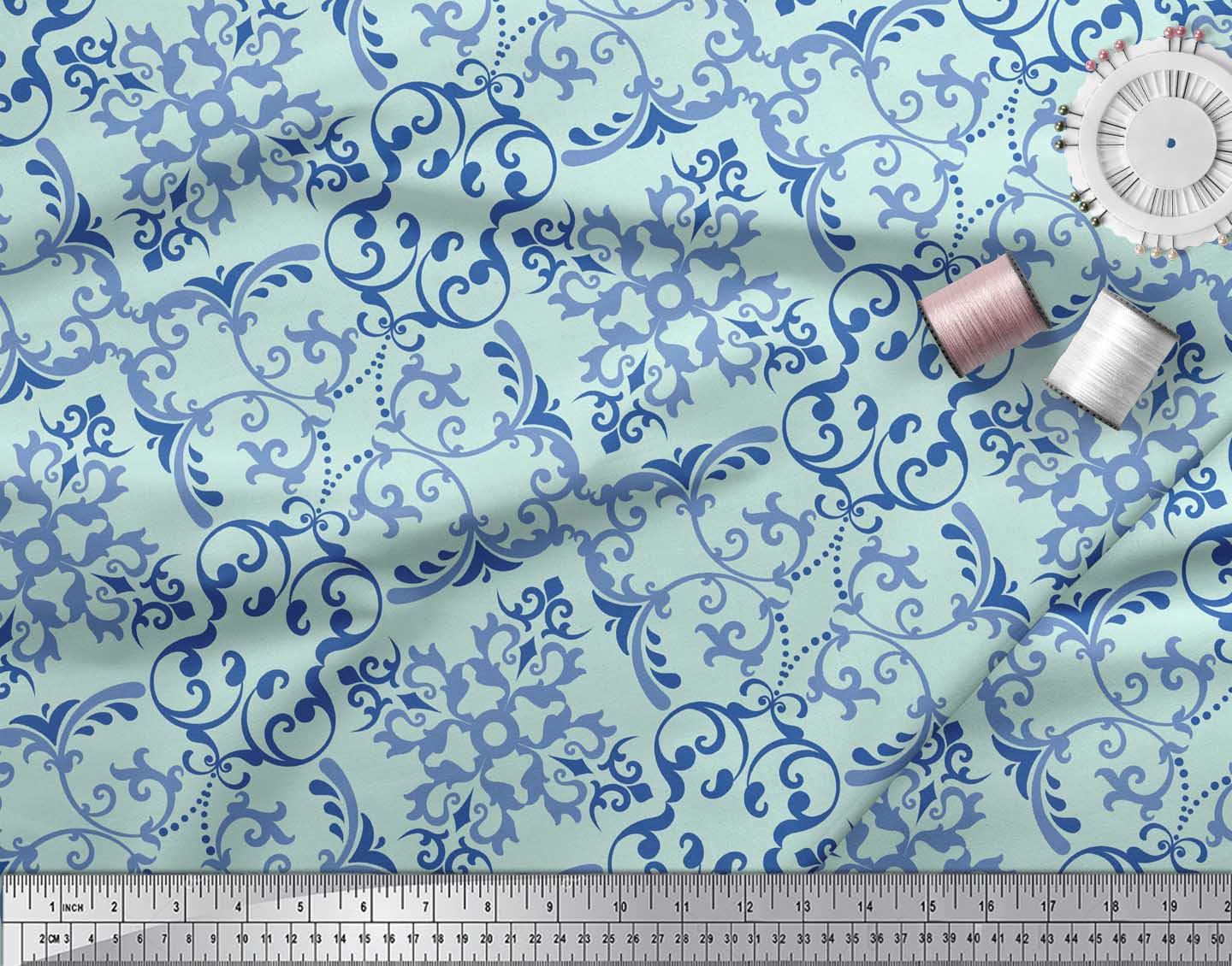 Soimoi-Green-Cotton-Poplin-Fabric-Vector-Design-Damask-Decor-Fabric-FDQ thumbnail 3
