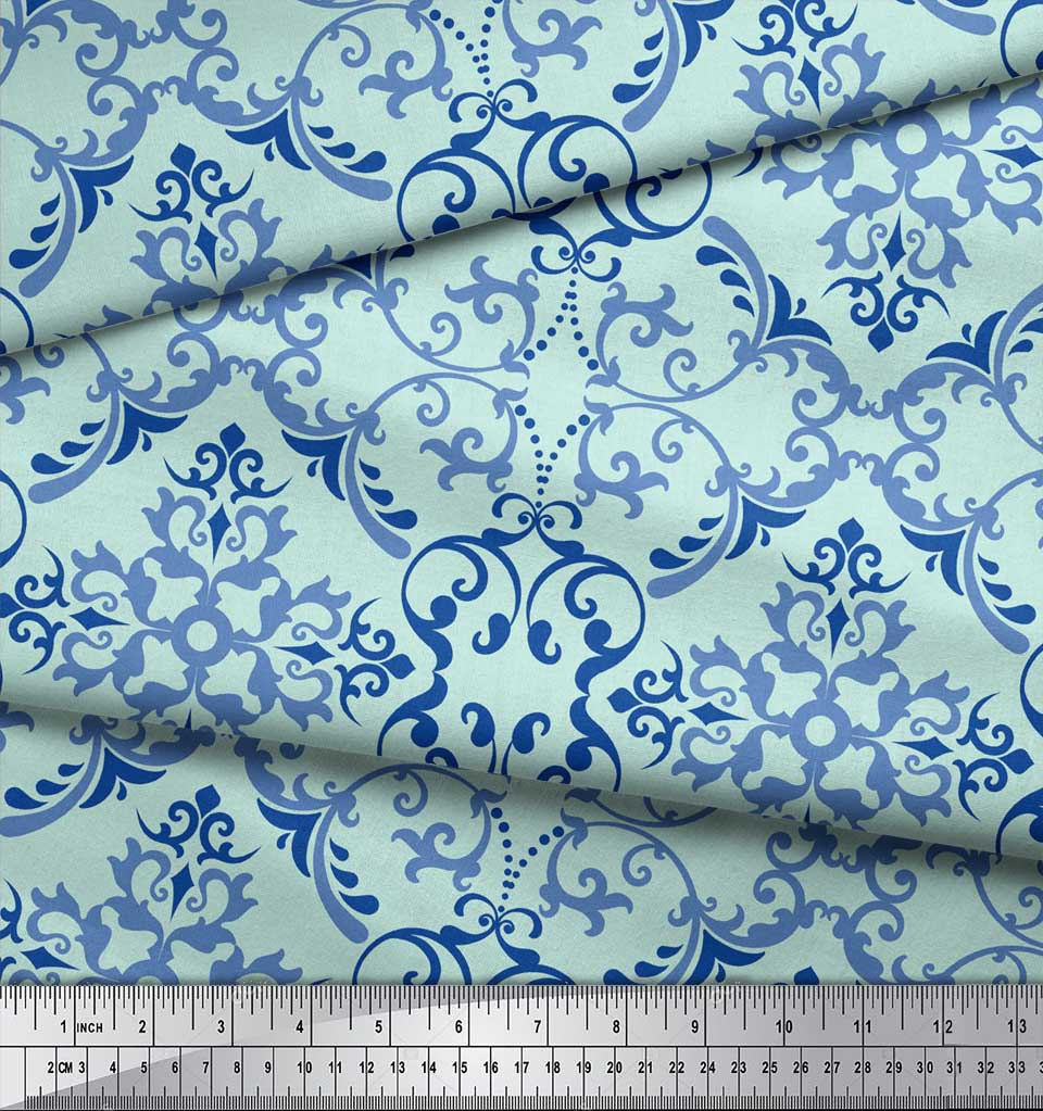 Soimoi-Green-Cotton-Poplin-Fabric-Vector-Design-Damask-Decor-Fabric-FDQ thumbnail 4