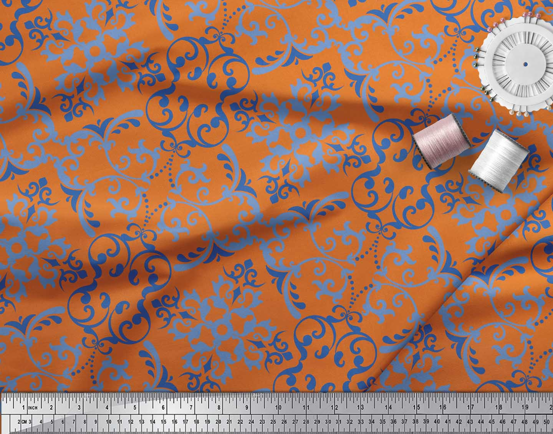 Soimoi-Orange-Cotton-Poplin-Fabric-Vector-Design-Damask-Print-Fabric-KB1 thumbnail 3