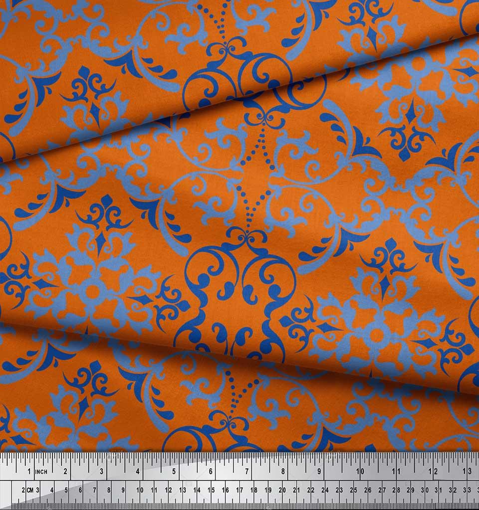 Soimoi-Orange-Cotton-Poplin-Fabric-Vector-Design-Damask-Print-Fabric-KB1 thumbnail 4