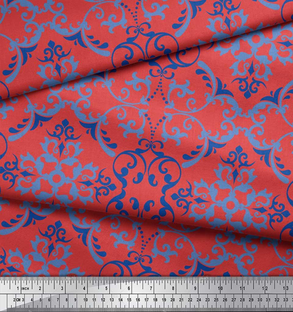 Soimoi-Orange-Cotton-Poplin-Fabric-Vector-Design-Damask-Print-Fabric-uyN thumbnail 3