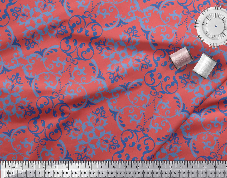 Soimoi-Orange-Cotton-Poplin-Fabric-Vector-Design-Damask-Print-Fabric-uyN thumbnail 4