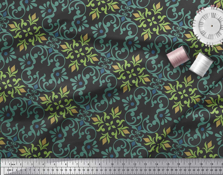 Soimoi-Black-Cotton-Poplin-Fabric-Vector-Design-Damask-Print-Fabric-27X thumbnail 3