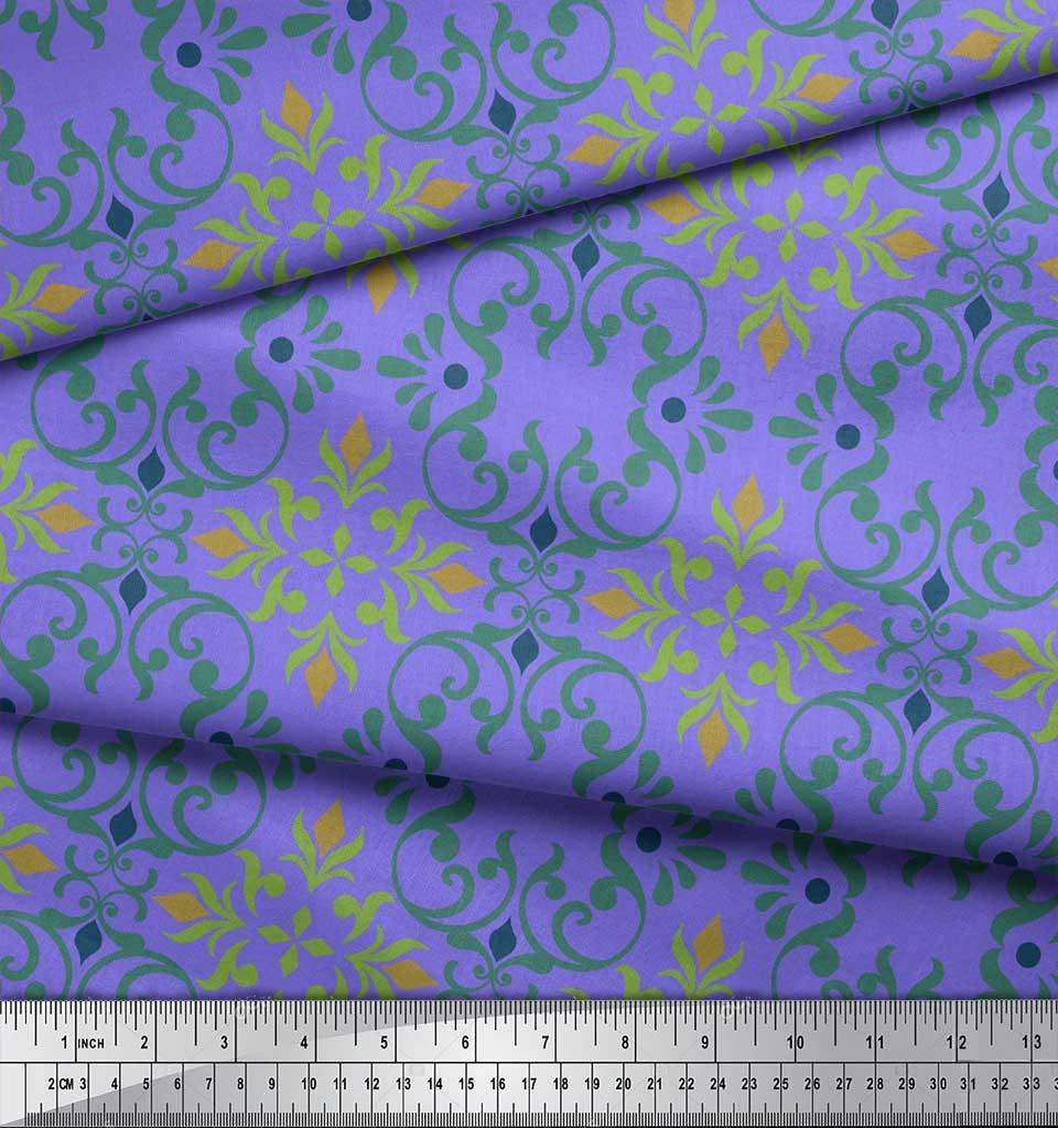Soimoi-Purple-Cotton-Poplin-Fabric-Vector-Design-Damask-Decor-Fabric-CES thumbnail 4