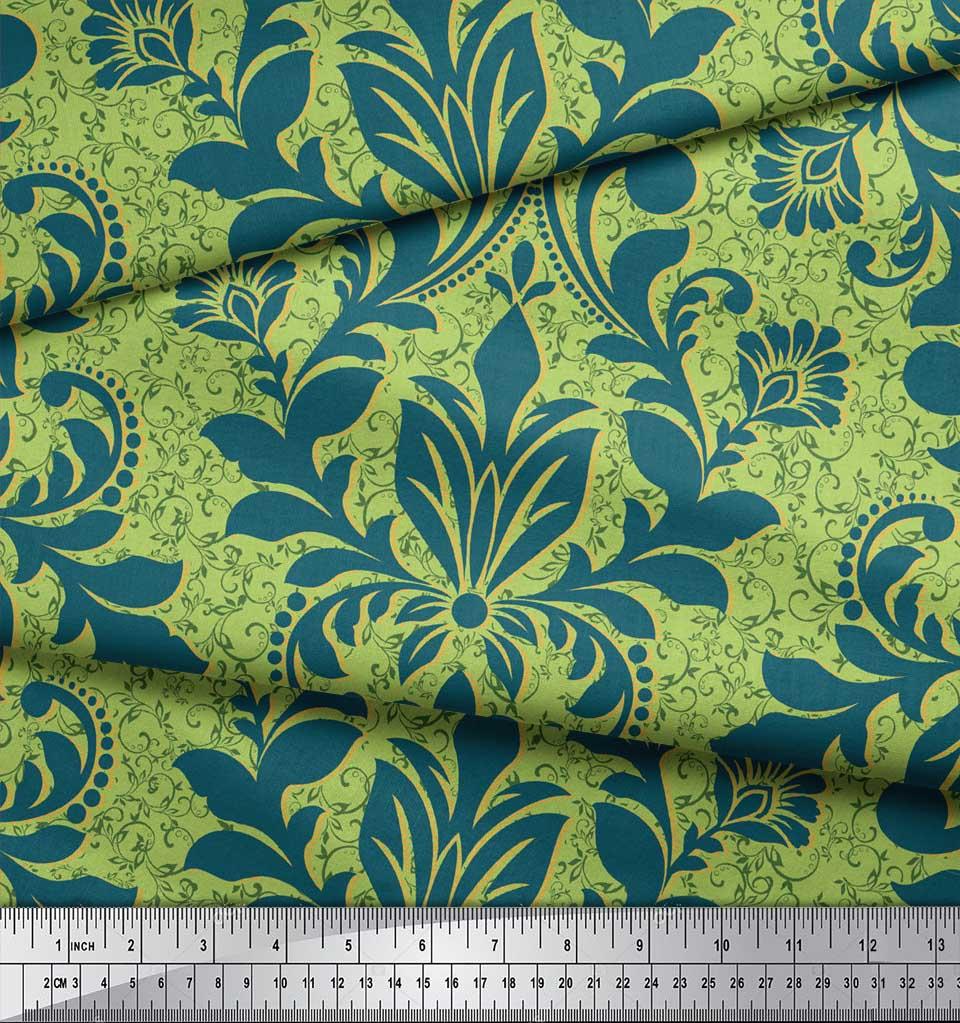 Soimoi-Green-Cotton-Poplin-Fabric-Vector-Design-Damask-Printed-Fabric-uYk thumbnail 3