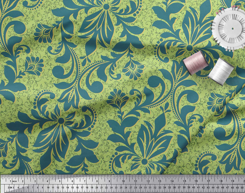 Soimoi-Green-Cotton-Poplin-Fabric-Vector-Design-Damask-Printed-Fabric-uYk thumbnail 4