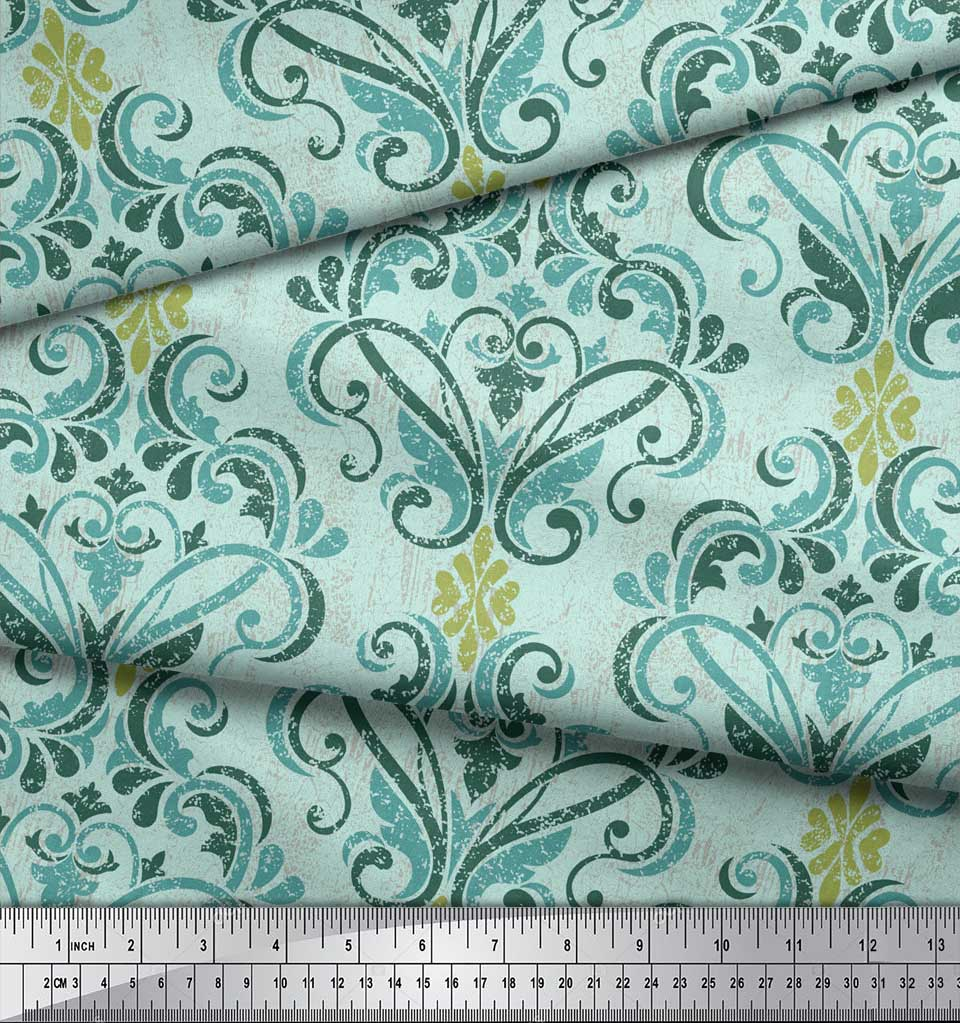 Soimoi-Green-Cotton-Poplin-Fabric-Vector-Design-Damask-Printed-Craft-HJ4 thumbnail 4