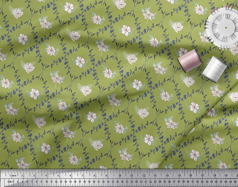 Soimoi-Green-Cotton-Poplin-Fabric-White-Floral-amp-Ogee-Damask-Decor-3JI thumbnail 3