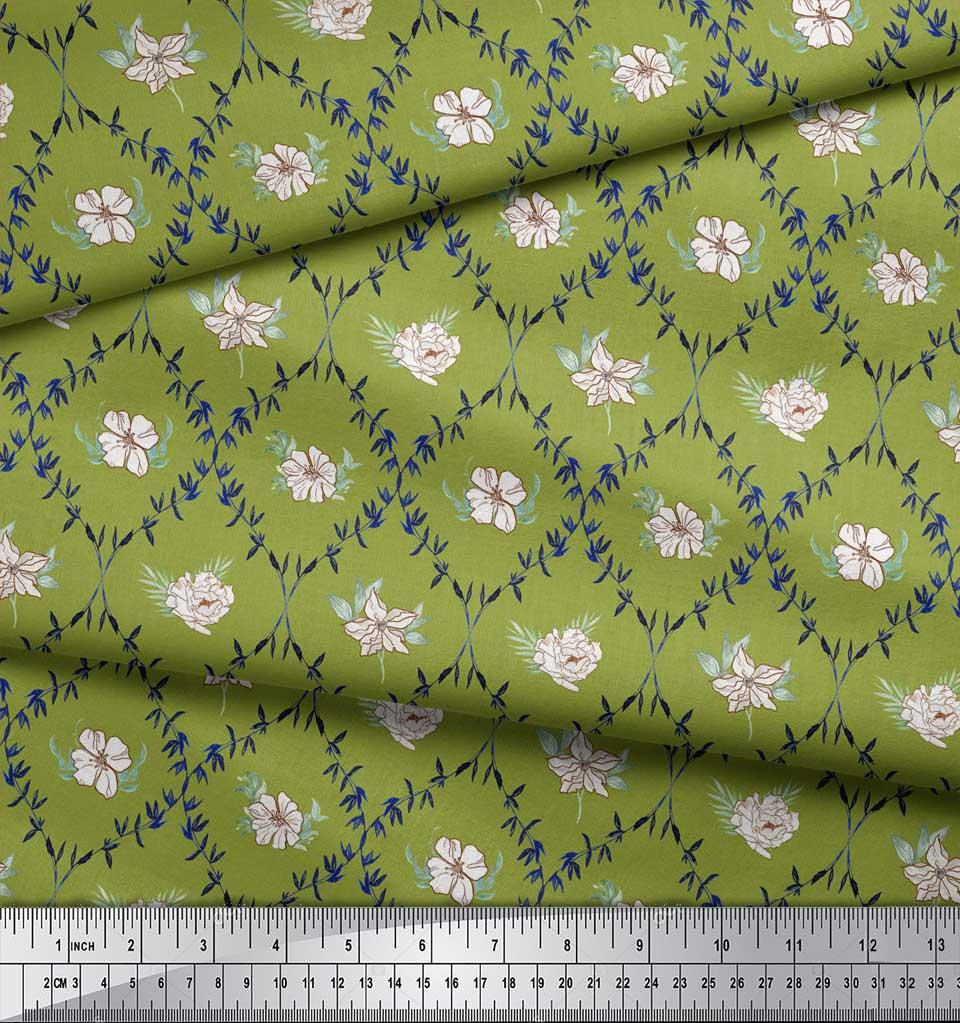 Soimoi-Green-Cotton-Poplin-Fabric-White-Floral-amp-Ogee-Damask-Decor-3JI thumbnail 4