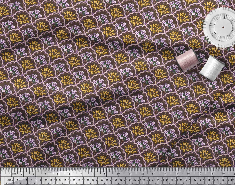 Soimoi-Brown-Cotton-Poplin-Fabric-Geometric-Yellow-amp-Purple-Floral-uMf thumbnail 4