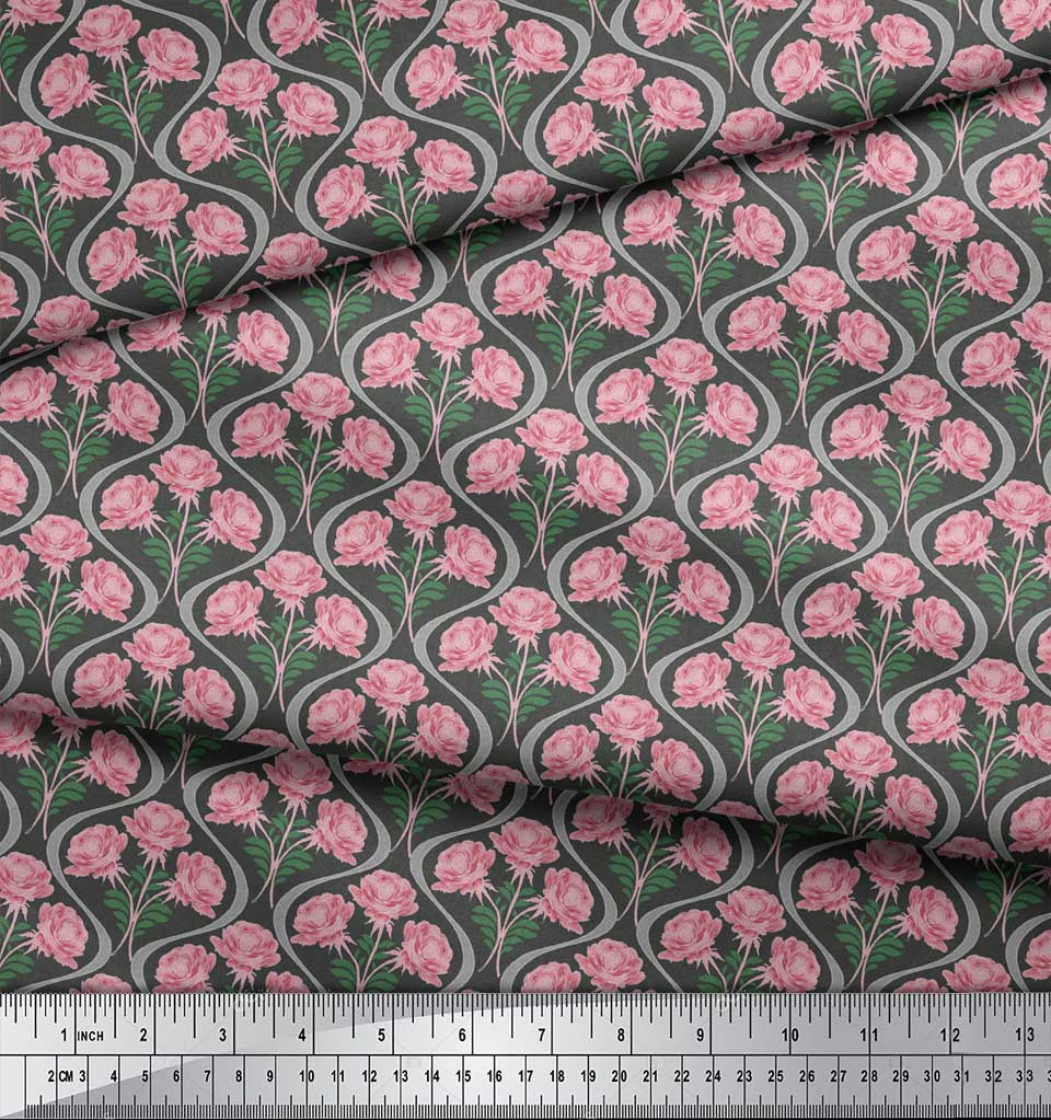 Soimoi-Gray-Cotton-Poplin-Fabric-Leaves-Pink-Floral-amp-Ogee-Damask-OR8 thumbnail 3