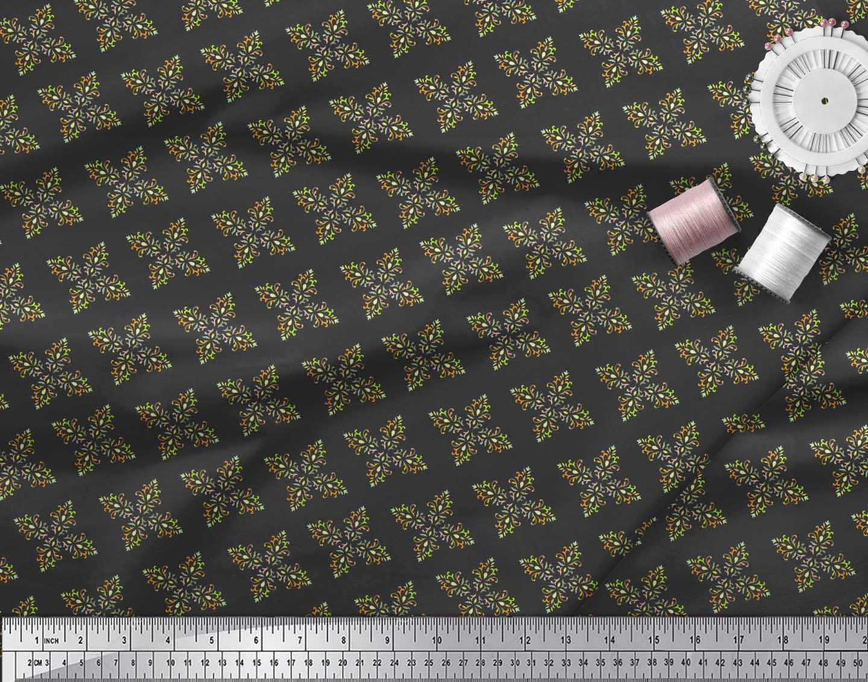 Soimoi-Black-Cotton-Poplin-Fabric-Artistic-Flower-Damask-Print-Sewing-hOX thumbnail 3