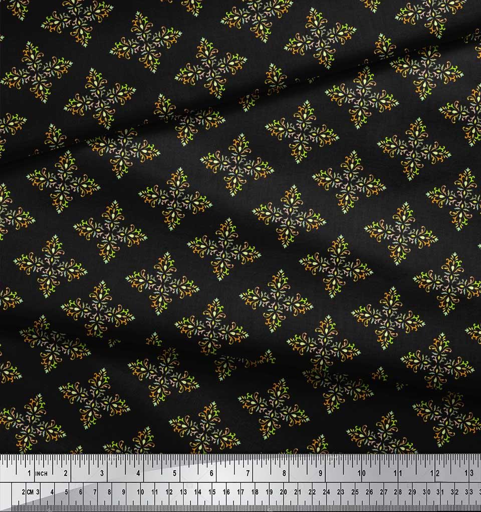 Soimoi-Black-Cotton-Poplin-Fabric-Artistic-Flower-Damask-Print-Sewing-hOX thumbnail 4