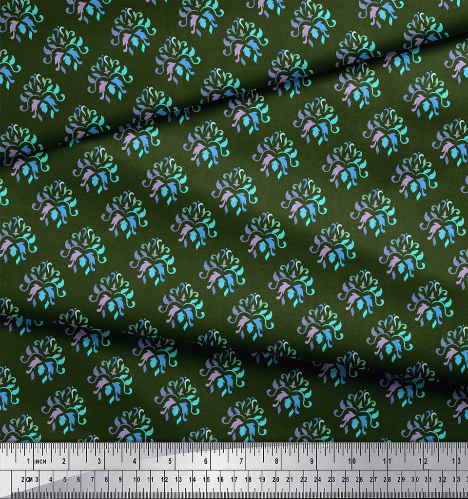 Soimoi-Green-Cotton-Poplin-Fabric-Artistic-Flower-Damask-Decor-Fabric-wdY thumbnail 3
