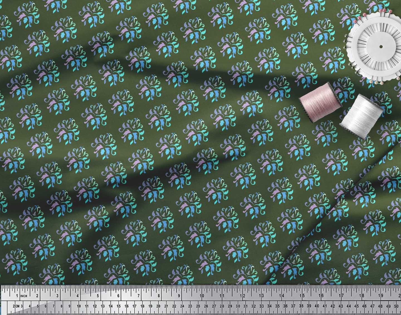 Soimoi-Green-Cotton-Poplin-Fabric-Artistic-Flower-Damask-Decor-Fabric-wdY thumbnail 4